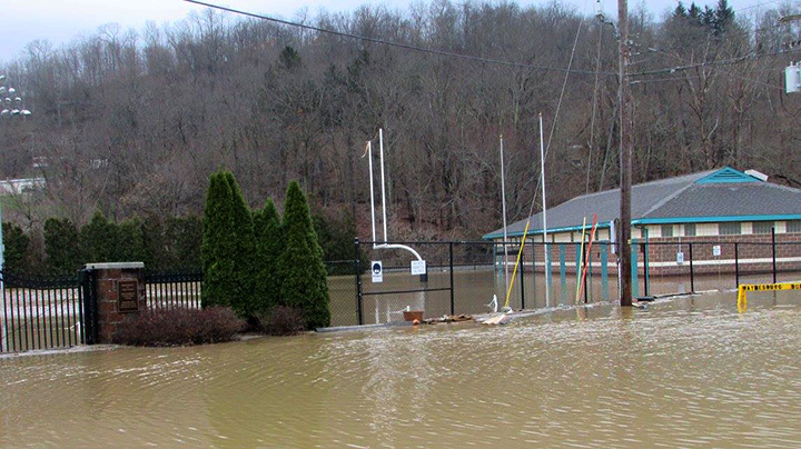 Flood waters at Wiley Stadium