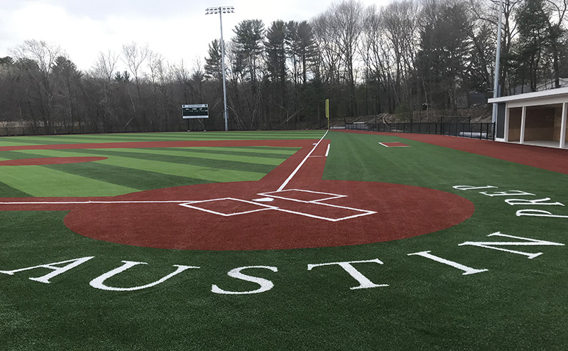 Home plate at Austin Preparatory School baseball field