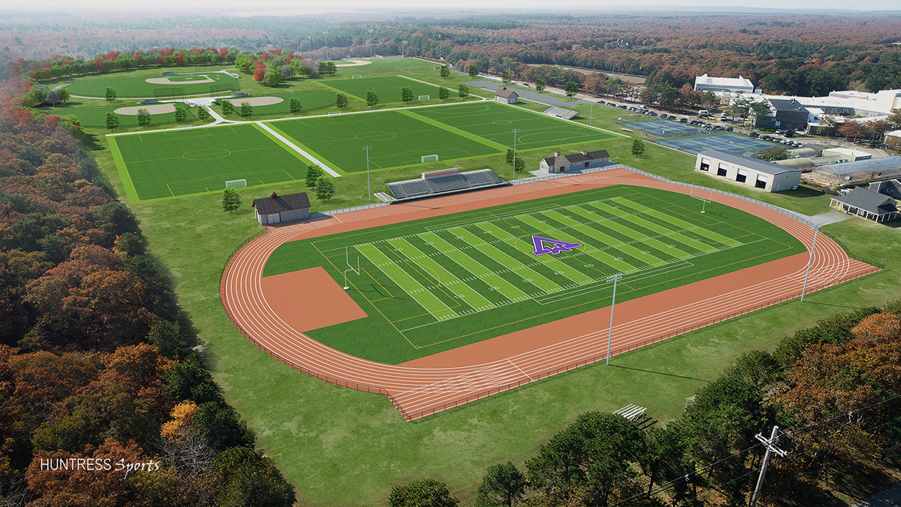 Martha's Vineyard High School aerial view of the athletic fields master plan