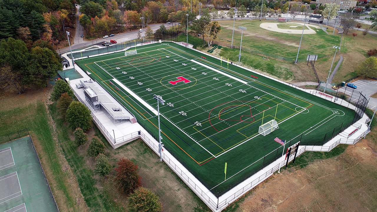 Trinity High School athletic field in Manchester, New Hampshire