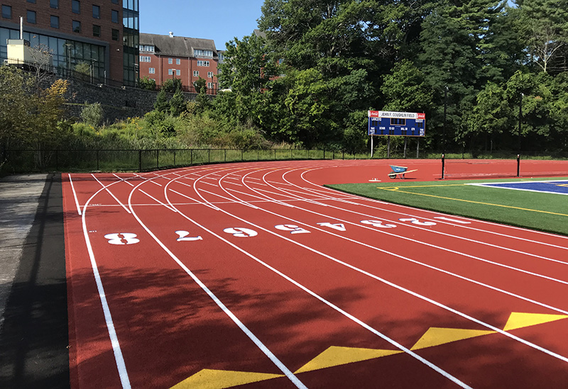 Worcester State College track with numbers